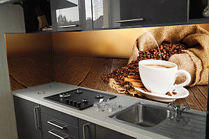 """Скинали на кухню Zatarga""""Кофе 03"""" 650х2500 мм коричневый виниловая 3Д наклейка кухонный фартук самоклеящаяся"""