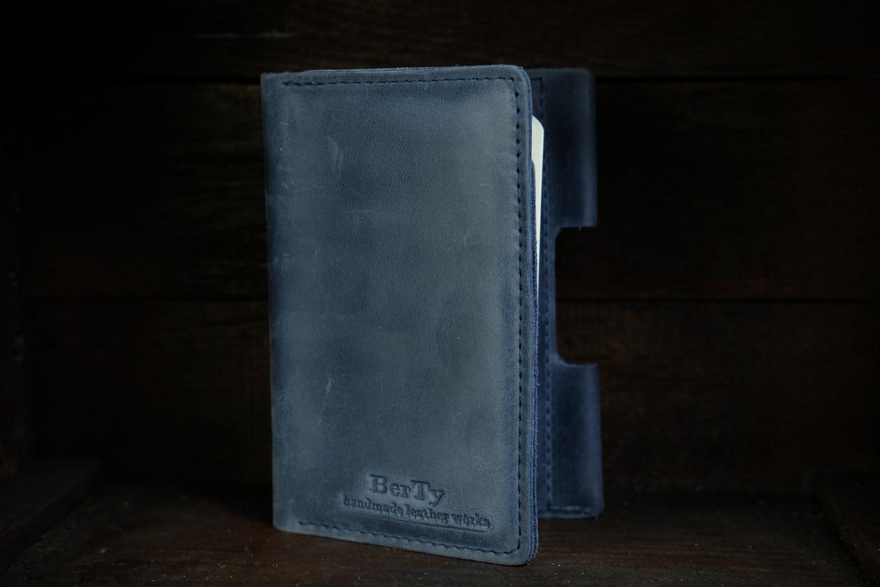 Обложка для Блокнота 14 х 9 см. Винтажная кожа цвет Синий