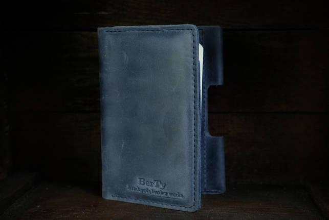 Обложка для Блокнота 14 х 9 см. Винтажная кожа цвет Синий, фото 2