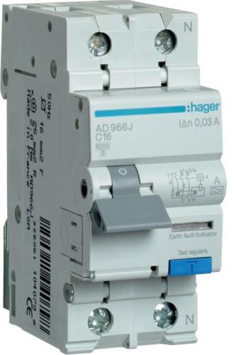 Диференційний автоматичний вимикач 1+N, 16A, 30 mA, С, 6 КА, A, AD966J