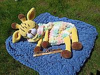 Мягкая вязаная  игрушка ручной работы пижамница жираф ручной работы, фото 1
