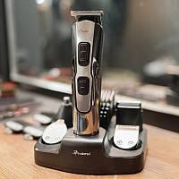 ОРИГИНАЛ! Качественная машинка для стрижки, триммер для бороды и усов Gemei Geemy GM 592 10 насадок в 1