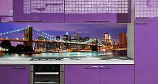 """Скинали на кухню Zatarga """"Нічне місто"""" 650х2500 мм фіолетовий вінілова 3Д Наліпка кухонний фартух"""