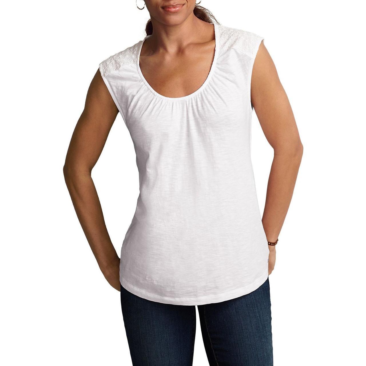 Жіноча туніка Eddie Bauer Womens Tunic Shirt Web Inserts Sleeveless WHITE (XS)