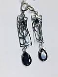 Срібні сережки з підвісом і чорним цирконом Тропік, фото 5