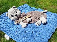 Мягкая вязаная  игрушка  пижамница вислоухий кот