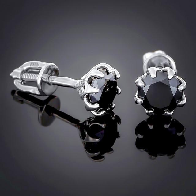 Пусеты (серьги-гвоздики) 002 Black Rhodium