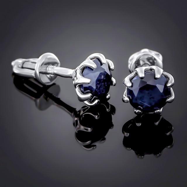 Пусети (сережки-гвоздики) 002 Сапфір Rhodium