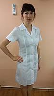 Жіночий медичний халат Мозаїка короткий рукав бавовна Білий