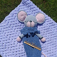 Мягкая вязаная  игрушка ручной работы пижамница мышка ручной работы 61*18 см