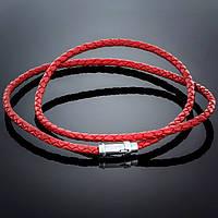 Колье Leatherс Red 004 Rhodium
