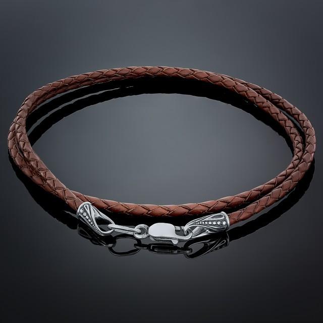 Кольє Leather Brown 005 Rhodium