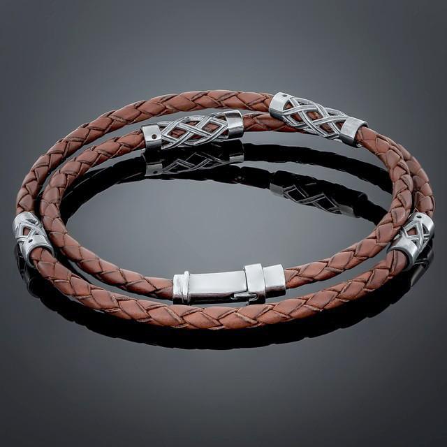 Браслет Leather Brown 006 Rhodium