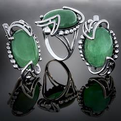 Женский комплект украшений 022 Авантюрин Зеленый