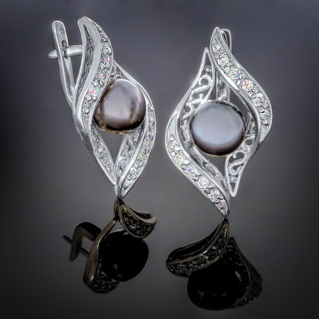 Сережки 024 Black Pearl Rhodium