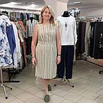 Сукня Бохо льон в меланжевую смужку зі складками, фото 3