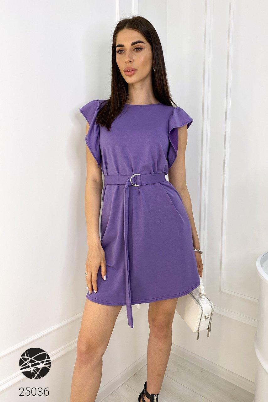 Платье мини фиолетового цвета с поясом. Модель 25036. Размеры 42-48