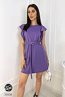 Платье мини фиолетового цвета с поясом. Модель 25036. Размеры 42-48, фото 1