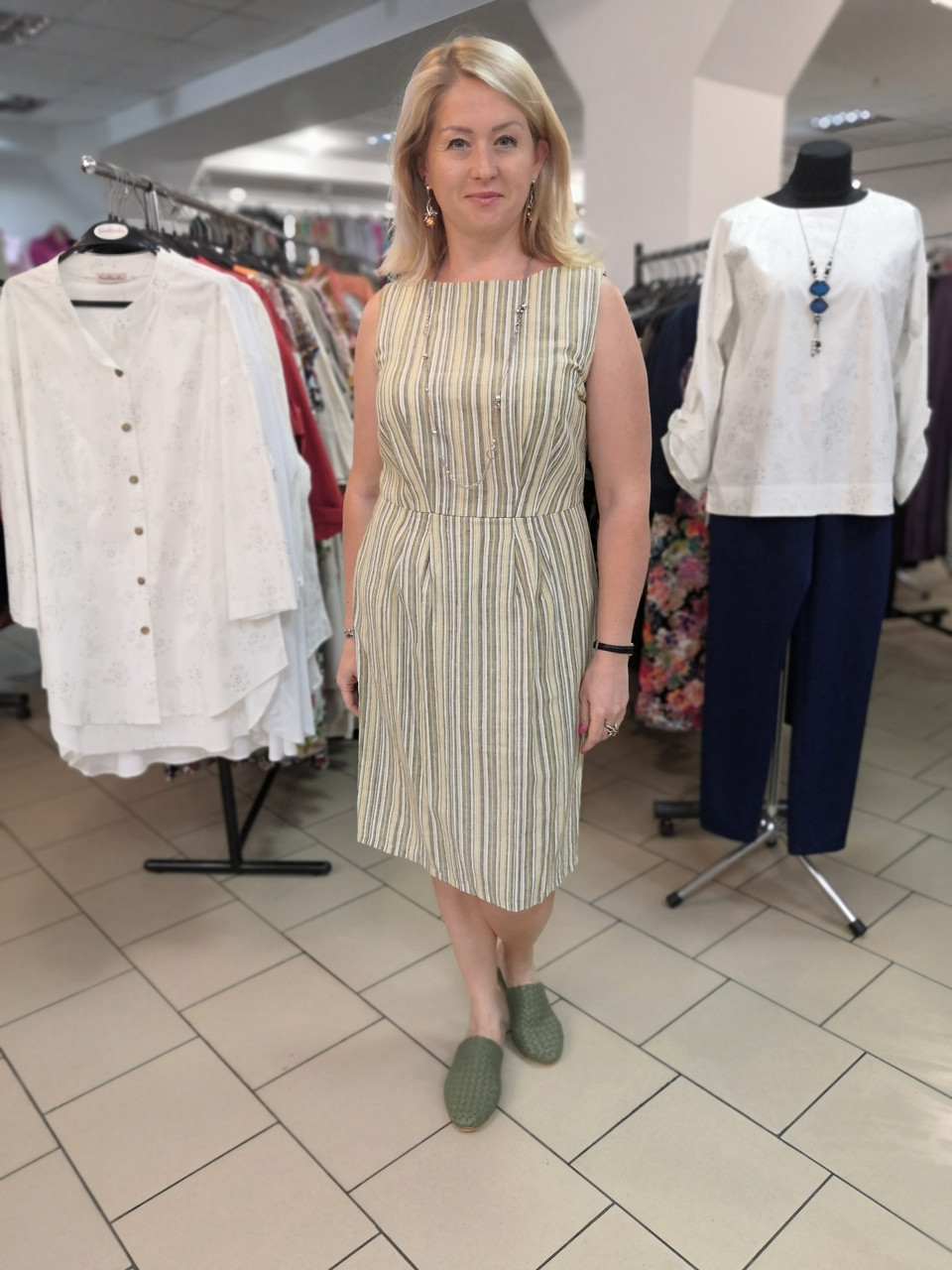 Сукня Бохо льон в меланжевую смужку зі складками