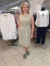 Платье Бохо лен в меланжевую полоску со складками