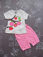 Детский летний костюм на девочку 62-74 см 68, Розовый