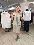 Сукня Бохо льон в меланжевую смужку зі складками, фото 2