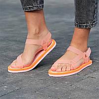 Босоножки сандалии женские оранжевые на липучках  (код 1244) - жіночі босоніжки сандалі оранжеві на ліпучці