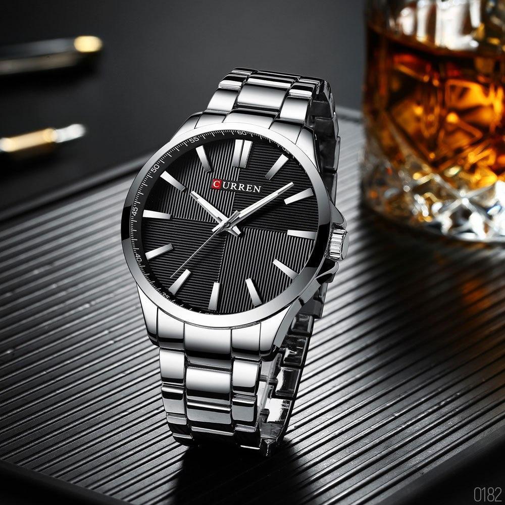 Чоловічі наручні годинники Curren 8322 Silver-Black (+Відеоогляд)