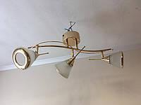 Люстра потолочная на три 3 плафона 0165 золотистая, фото 1