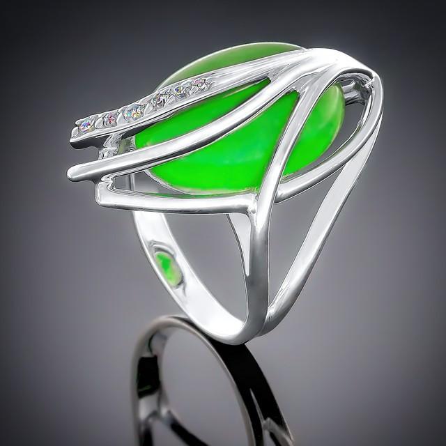 Колечко 039 Агат Зеленый Rhodium