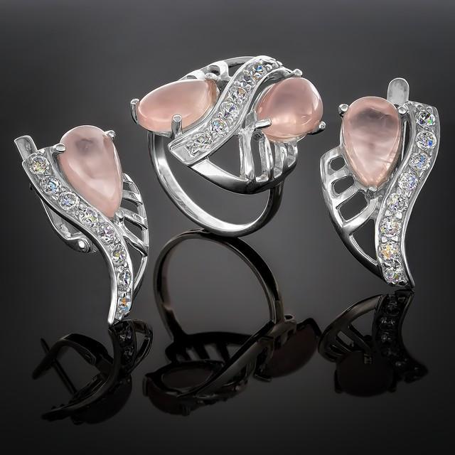 Женский комплект украшений 033 Кварц розовый Rh