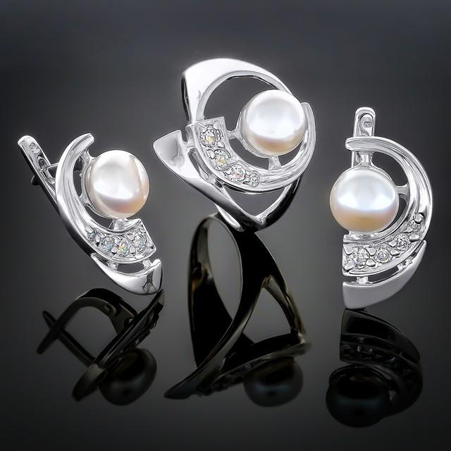 Женский комплект украшений 070 Белый Rhodium