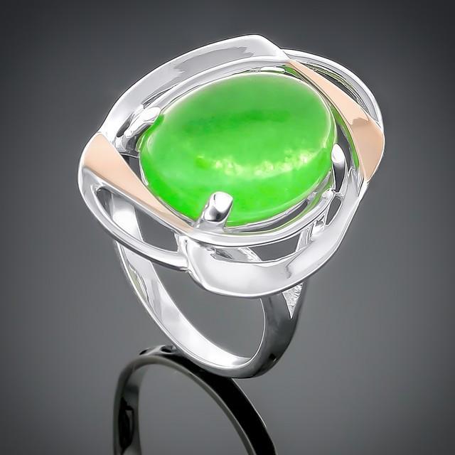Колечко 242 Агат зеленый Rhodium