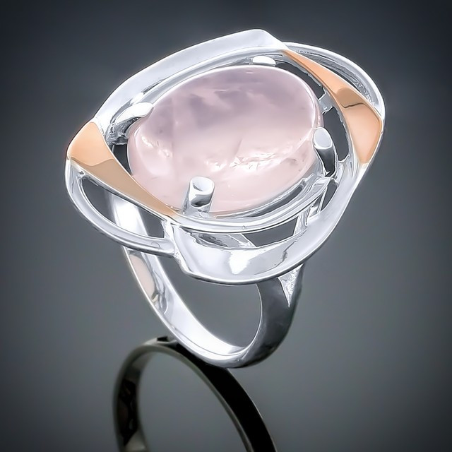 Колечко 242 Кварц розовый Rhodium