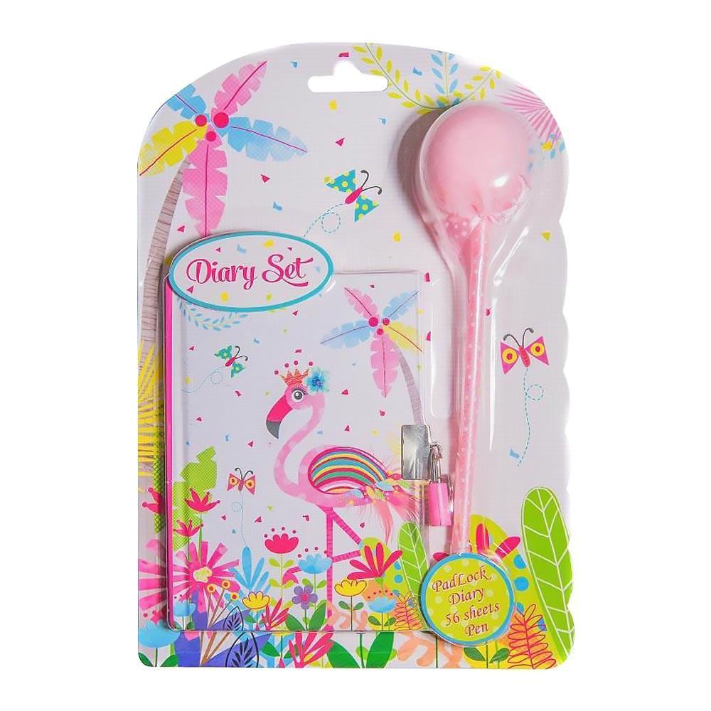 Блокнот Malevaro Розовый фламинго ручка-пушок с короной 56 л (BP64-1853)