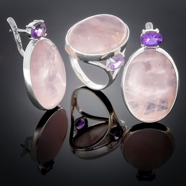 Женский комплект украшений 100 Аметист/Кварц розовый Rhodium