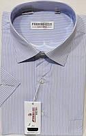 Рубашка мужская с коротким рукавом Ferrero Gizzi vk-0009 белая в полоску классическая 40