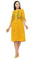 Женское платье вышиванка Анита желтый лен 42-52р