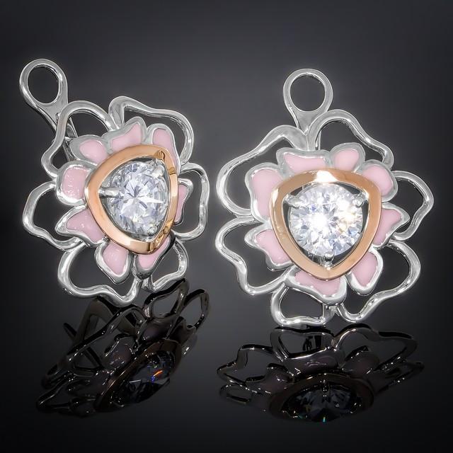Серьги 374 Светло-розовый Rhodium