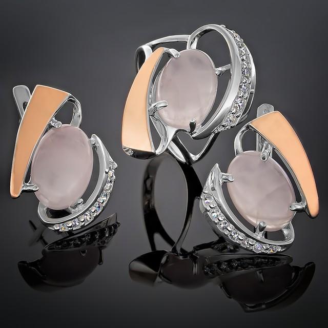 Женский комплект украшений 032(2) Кварц розовый Rhodium