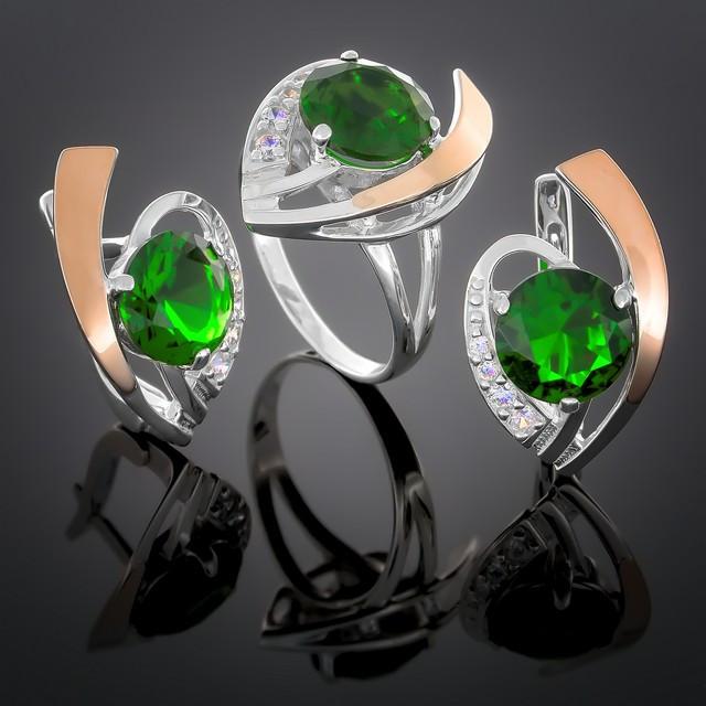 Женский комплект украшений 179 Зеленый Rhodium