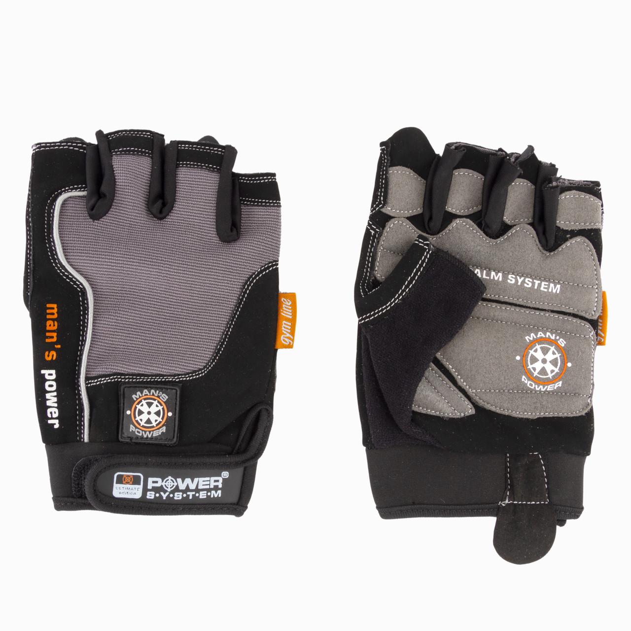 Перчатки для фитнеса и тяжелой атлетики Power System Man's Power PS-2580 S Black/Grey