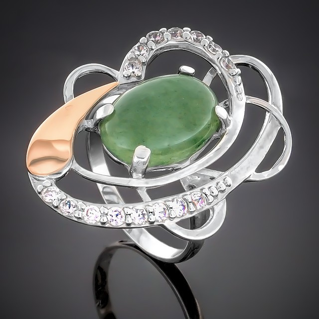 Колечко 308 Авантюрин Зеленый Rhodium