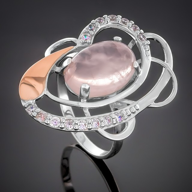 Колечко 308 Кварц Розовый Rhodium