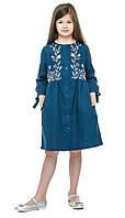 """Платье вышиванка  для девочки """"Анита"""" синий лен 116-158 см"""