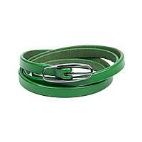 Ремень Woman's heel кожаный зеленый (Р-29)