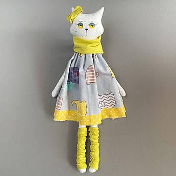 Кот мягкая игрушка кошечка Желтый текстиль 42 см