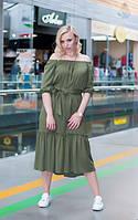 Платье-миди с рюшей цвета хаки