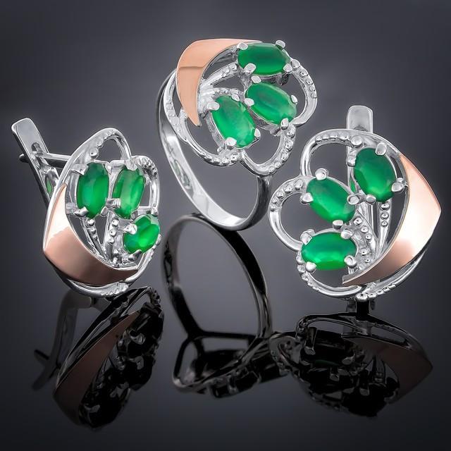 Женский комплект украшений 263 Агат зеленый Rhodium