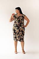 Платье с цветочным принтом черное, фото 1